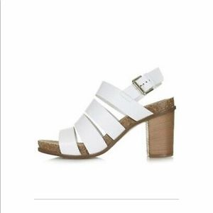 "NEW Topshop ""Nickname"" White Wooden Sandal 8.5 39"